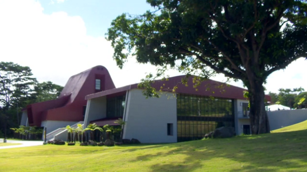 The new Hawaiian language building, view from oblique side